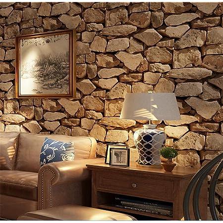 H&M Wallpaper PVC retro 3D stereo imitation stone texture wallpaper decoration bedroom TV wall living room wallpaper -53 cm (W) * 10 m(L)