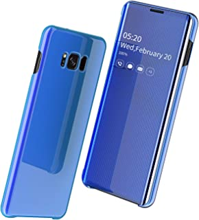 Samsung Galaxy S8 Plus Case, Slim Smart Mirror Screen Cover and Leather Back Case, Clear View Window Full Body Protective Flip Case, Multi-Function Mirror Case For Samsung Galaxy S8 Plus Case-Blue
