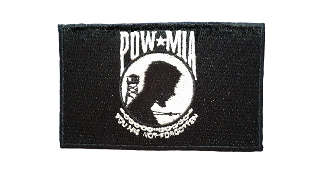 POW MIA Iron On Patch Fabric Motif Applique Military Army Rank Scrapbooking Memory Decal 2.95 x 1.77 inches (7.5 x 4.5 cm)