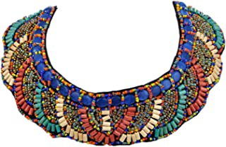 Womens Tribal Ethnic Colorful Golden Beaded Bib Aztec Sun Scallop Edge Statement Necklace