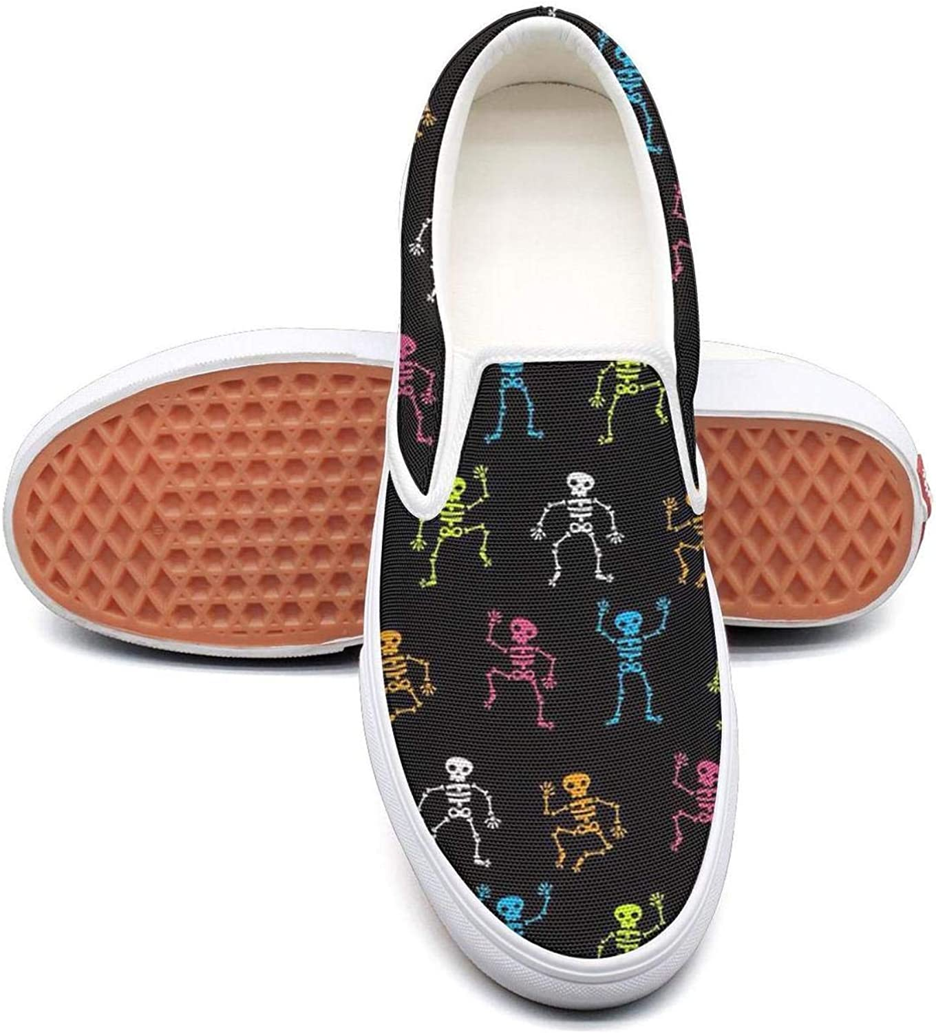 colors Dancing Skull Skeleton Slip On Canvas Upper Sneakers Canvas shoes for Women Lightweight