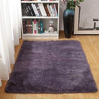 AOI Alfombras Ultra Suaves para Interiores, Interiores y Suaves Alfombras de Sala de Estar aptas para niños Dormitorio Decoración para el hogar Alfombras de Dormitorio 60 * 120 cm (Gris Púrpura)