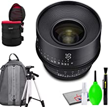 Rokinon Xeen 35mm T1.5 Lens for PL Mount Bundled with Protective Case, Padded Backpack, Tripod and Cleaning Kit