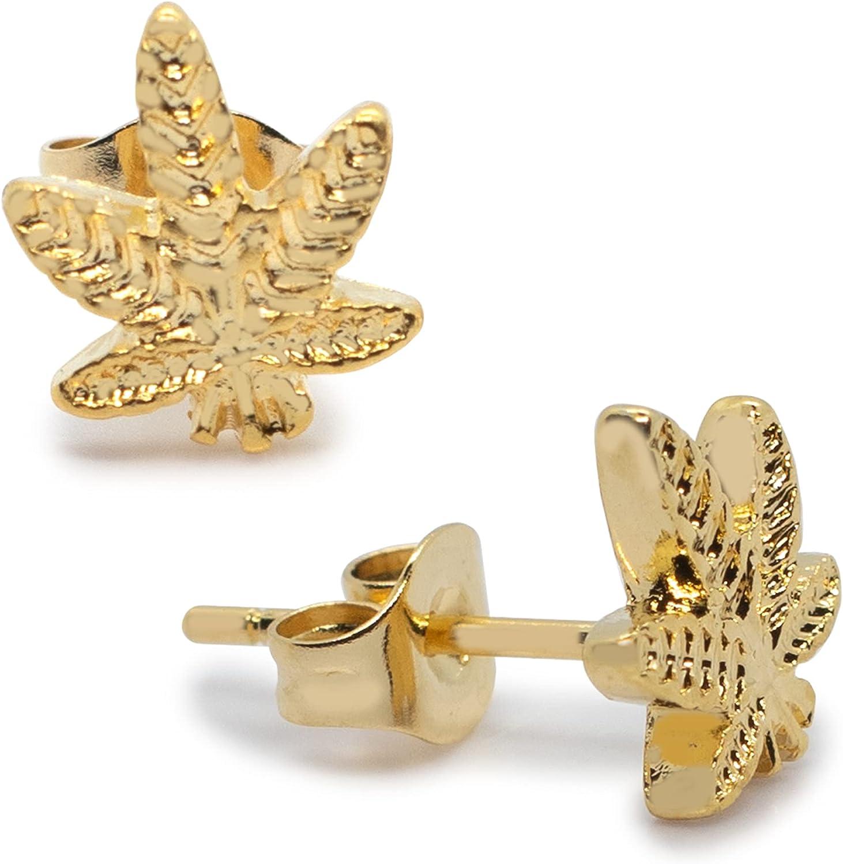 P2GO Pair of Anodized Gold 316L Marijuana Leaf Pendant Stud Earrings Jewelry