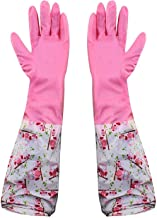 Okayji PVC Cleaning Lining Non-Slip Hand Gloves for Kitchen (Random Colour , Free Size) -1 Pair
