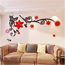Kayra Decor 'Gorgeous Red Flower' Reusable Wall Stencils/DIY Painting Tools/Durable Than Wall Stickers (PVC, 83-inch x 34-inch)
