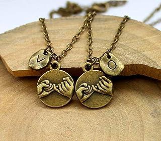 Personalizzati mano collana iniziale nella mano,Promessa del pollice,cuore a cuore, migliore amico collana Set, Fidanzata ...