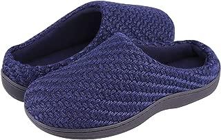 LB LONGBAY SINCE 1997 Men's Woolen Yarn Memory Foam House Slippers Fleece Clogs House Shoes for Indoor Outdoor Use
