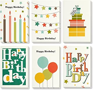 Birthday Card - 48-Pack Birthday Cards Box Set, Happy Birthday Cards - Bright Party Designs Birthday Card Bulk, Envelopes Included, 4 x 6 inches