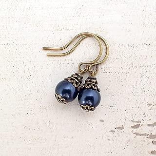 Dark Navy Blue Swarovski Crystal Simulated Pearl Earrings in Antiqued Brass