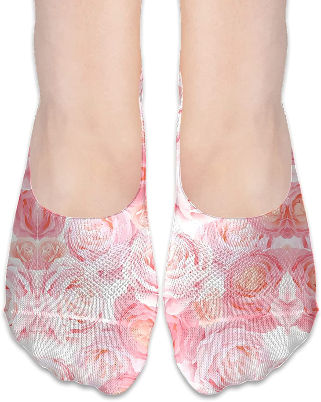 Elegant Pink Rose Unisex Adult Light Casual Liner Socks Non Slip No Show Ankle Socks Low Cut Invisible Socks