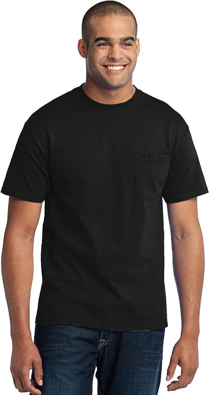 Port & Company Tall 50/50 Cotton/Poly T-Shirt with Pocket>3XLT Jet Black PC55PT