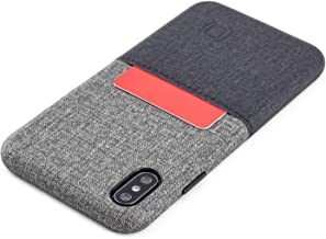 Dockem Luxe M1 Wallet Case for iPhone Xs Max: Built-in Metal Plate, Designed for Magnetic Mounting: Ultra Slim Canvas Style Synthetic Leather Card Case: M-Series [Black and Grey]