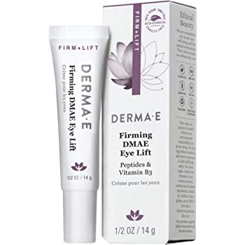 DERMA E Firming DMAE Eye Cream – Multi-Action Anti-Aging Under Eye Cream Firms, Tightens & Lifts – Reduces bags, Smooths Laugh Lines & Dark Circles –Peptides, Vitamin B3 infused for Collagen support