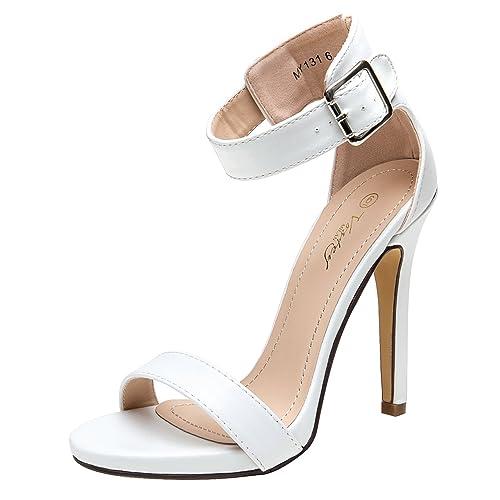 4948b7d53ea9c Strappy White Heels: Amazon.com