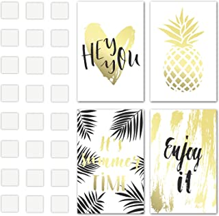 Set of 4 Decorative Posters 11x17 inches 1mm Thick Cardboard with Double Sided Tape Included - Summer Time Quotes and Gold Pineapple Inspirational Wall Art - Perfect Prints for Bedroom or College Dorm
