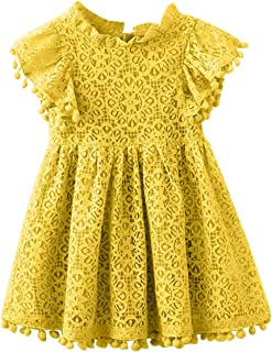 Baby Girl Vintage Lace Dress Kids Pom Pom Tassel Frilled Princess Party Dress
