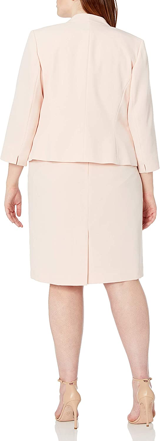 Le Suit Women's Open Front Jacket with Sleeveless Fit and Flare Dress Stretch Crepe Suit