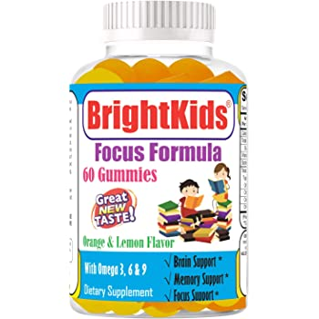 Bright Kids Focus Formula 60 Gummies Focus Attention Booster for Kids &Teens, Memory Brain MultiVitamin Omega DHA Gummy Chewables Natural Brain Supplements