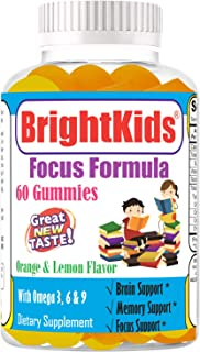 Bright Kids Gummies for Focus Kids Focus and Attention Brain Focus and Attention Supplement for Kids Help Kids Focus Study...