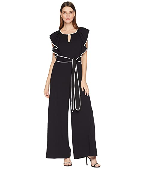 TAYLOR Contrast Piped Ruffle Sleeve Jumpsuit, Black/Ivory
