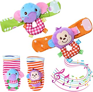 ThinkMax Wrist Rattles for Babies, 4 Pieces Baby Wrist Rattle and Foot Rattles Finder Socks Monkey and Elephant Toys Set (Purple)