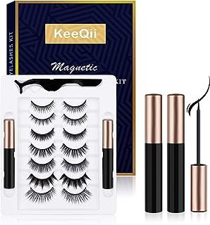 KeeQii Magnetic Eyelashes and Eyeliner Kit, Magnetic Eyeliner and Eyelash Set with Natural Look,Reusable Magnetic Eyelashe...