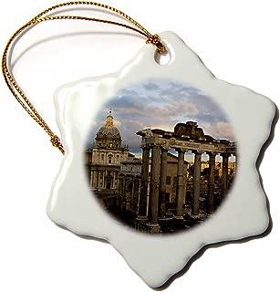 3dRose orn_82106_1 Forum Rome Italy David Barnes Snowflake Decorative Hanging Ornament, Porcelain, 3-Inch
