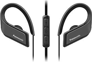 Panasonic RP-BTS35E-K - Auriculares Bluetooth Deportivos (Impermeables, Uso Cómodo y Ultraligero, Batería Duradera, Cancelación de Ruido, Carga Rápida, Micrófono y Manos Libres), Color Negro, Reducido