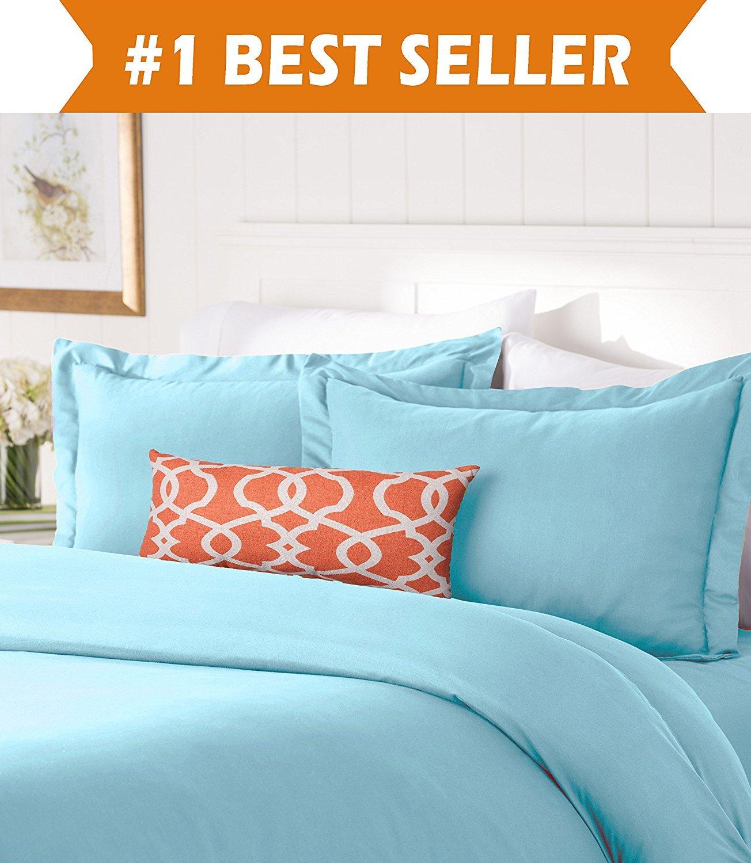 Elegant Comfort #1 *佳床上用品套装! 1500 支埃及优质奢华丝滑柔软无皱 3 件套被套套装,纯色 - 所有尺寸和多种颜色可选 水绿色 Twin/Twin XL FBA_COMINHKPR132448