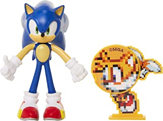 "Sonic The Hedgehog Collectible Sonic 4"" Bendable Flexible Action Figure with Bendable Limbs & Spinable Friend Disk Accesso..."
