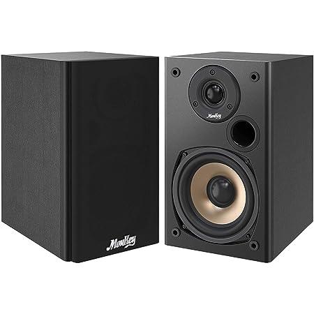 Moukey Bookshelf Speakers 100 Watts Peak Power Home Theater Passive Speakers - 2.0 Near Field Audio Speakers, 5-Inch Wooden Enclosure Stereo Speakers | Wall-Mountable| Pair, Black - M20-1