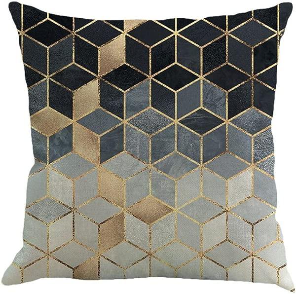 Vibola 抽象几何绘画亚麻复古家居装饰抱枕套沙发腰扔靠垫套家居装饰 A