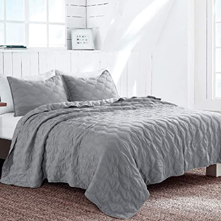 SHALALA NEW YORK Cotton Voile Quilt Set with 2 Quilted Shams Machine Washable Ultra Soft Garment Washed Coverlet Breathable and Comfortable Gray, Full//Queen Solid Geometric Bedspread