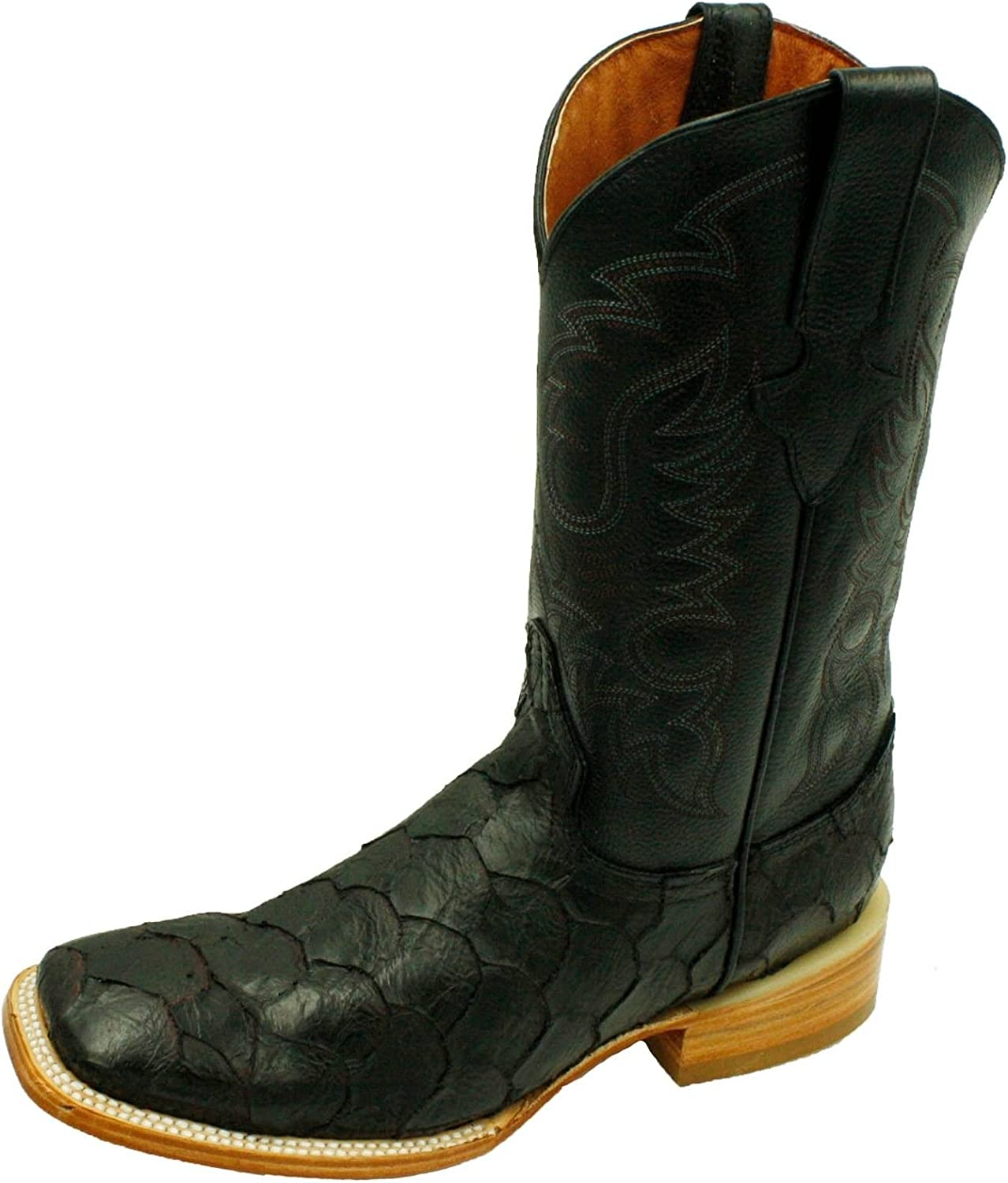 Tampa Mall Men Genuine Cash special price Cowhide Leather Fish Toe Western Square Boots Print