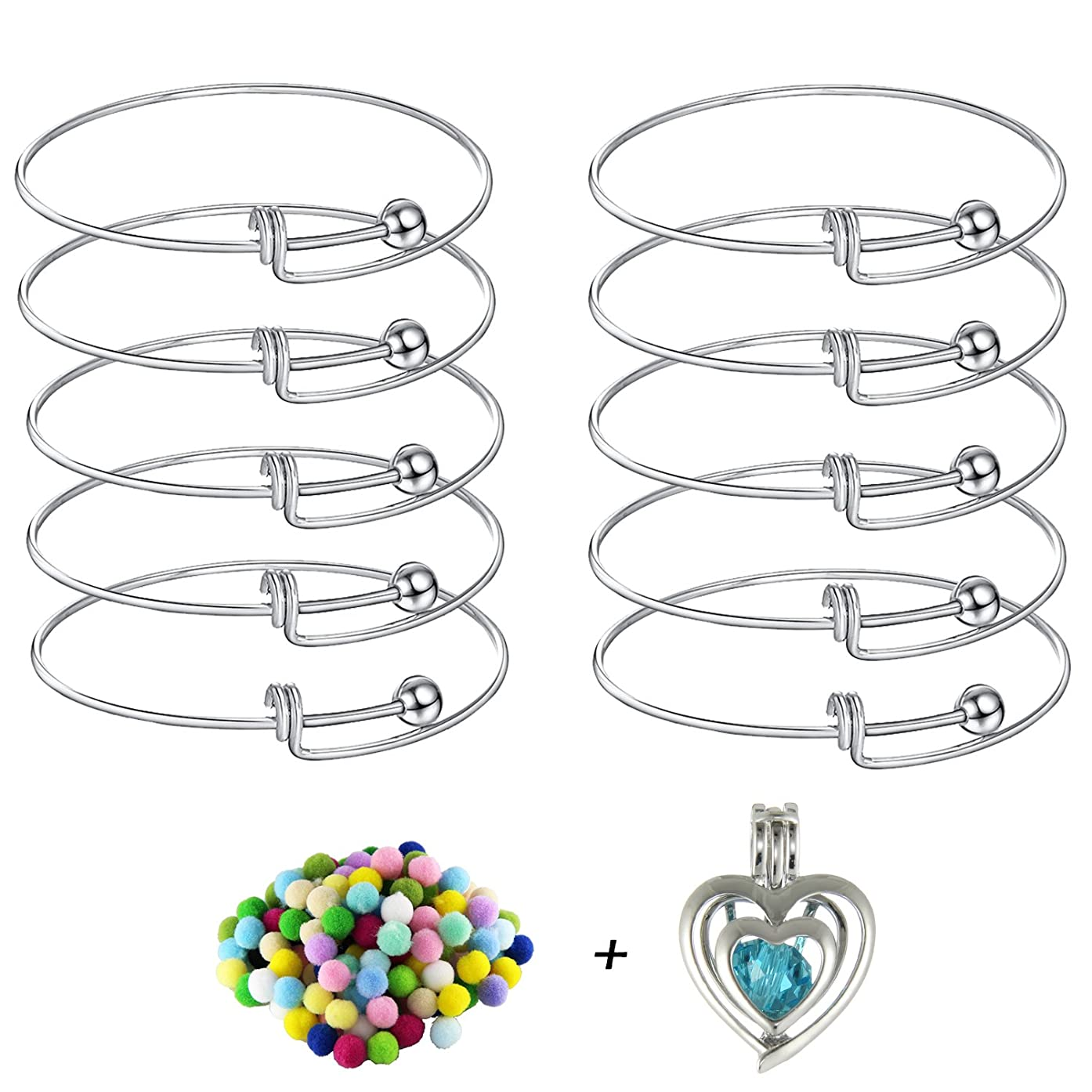 10pcs Expandable Wire Blank Bangle Bracelet for DIY Jewelry Making, Stainless Steel Tone 65mm Cage Bracelet for Women