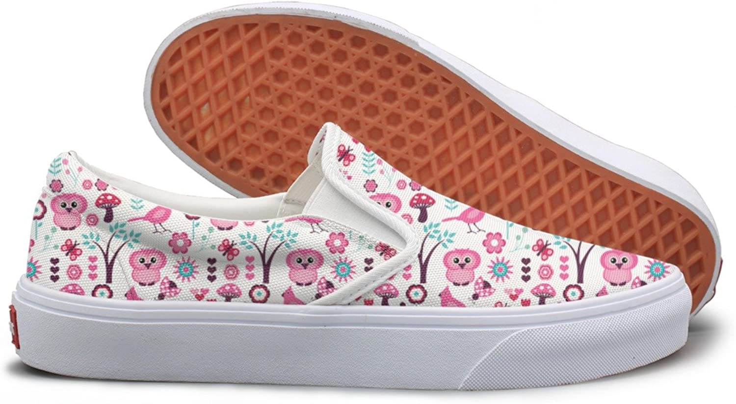 Lalige Birds Owl Flowers Women Printed Graphics Canvas Slip-on Walking shoes