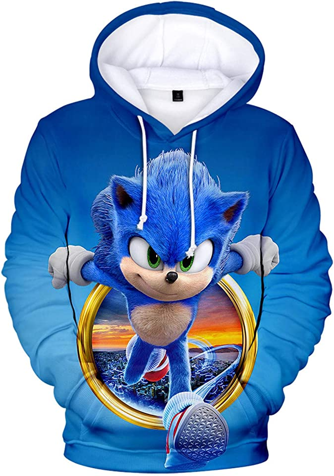 Sonic Hoodie Boys Girls Sweatshirt Harajuku Casual Unisex Clothes Long Sleeve Pullover 3D Printing Cartoon Anime