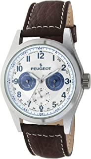 Peugeot Men's Multi-Function Calendar Watch - Water Resistant Stainless Steel Case and Leather Band