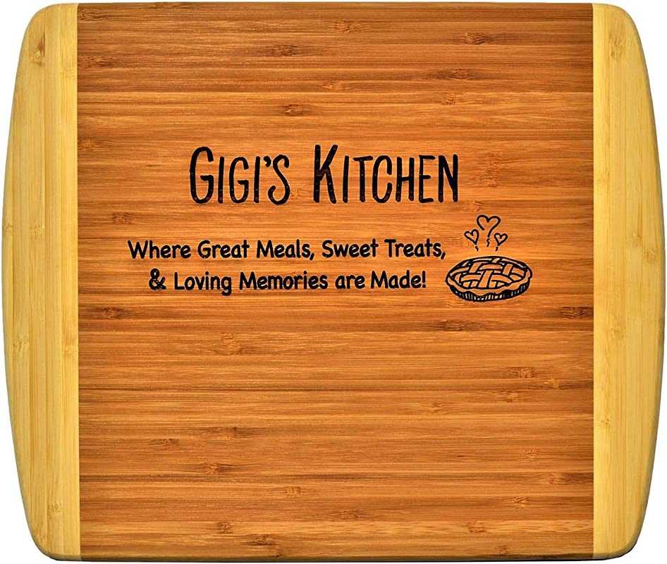 GIGI GIFT Engraved 2 Tone Bamboo Cutting Board 2 Sided Kitchen Design Main Side For Decor Reverse Side For Usage Grandma Birthday Mother S Day Christmas Gift Best GiGi Ever Xmas 11 1 2 X 13 1 2