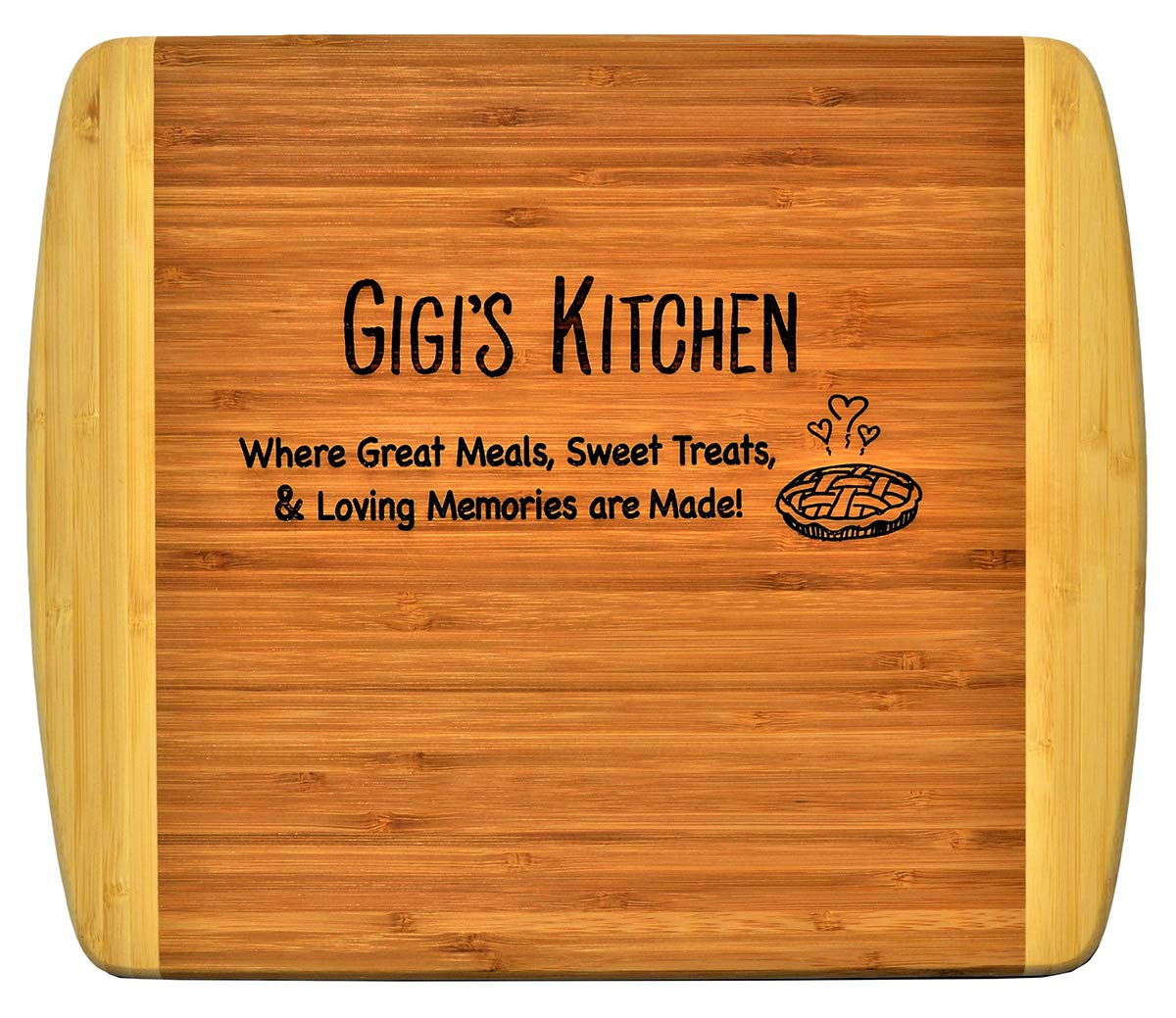 Gigi Gift Engraved 2 Tone Bamboo Cutting Board 2 Sided Kitchen Design Main Side For Decor Reverse Side For Usage Grandma Birthday Mother S Day Best Gigi Ever Xmas 11 1 2 X 13