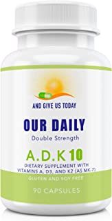 Our Daily Vites ADK 10 Double Strength (10,000 iu) 90 Count Vitamins A1, D3 & K2 (as MK7) - Physician Formulated Bone, Hea...