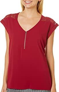 BCX Womens Lace Zip-Front Pullover Top