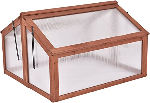 "Giantex Garden Portable Wooden Cold Frame Greenhouse Raised Flower Planter Protection (35.4""X31.3""X23.0"")"