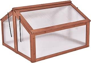 Giantex Garden Portable Wooden Cold Frame Greenhouse Raised Flower Planter Protection (35.4