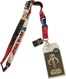 Star Wars Boba Fett Doublesided Lanyard Keychain ID Badge Holder With Charm & Sticker