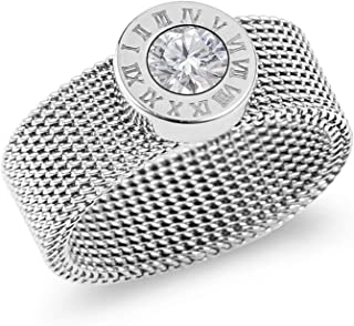 Silver Titanium Steel Mesh Band Ring with Roman Numerals and Solitaire Swarovski Crystal