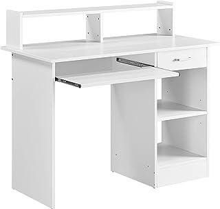 Yaheetech Bureau Blanc pour Ordinateur PC Bureau Informatique avec Porte Clavier Coulissant Tiroir et 2 étagères de Rangem...