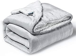 BEDSURE Sherpa Fleece Blanket Twin Size Light Grey Plush Throw Blanket Fuzzy Soft Blanket Microfiber