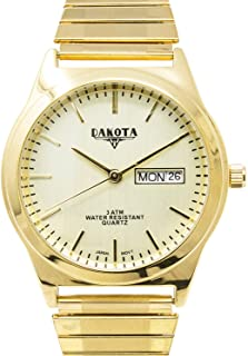 Dakota Easy to Read Unisex 35mm Large Face Day/Date Twist Stainless Steel Expansion Stretch Band Water Resistant Watch